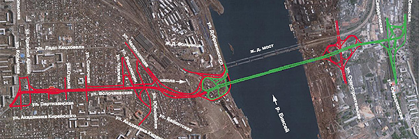 Схема подъезда к мосту