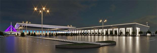 Ночной вид аэропорта Красноярск - старый терминал