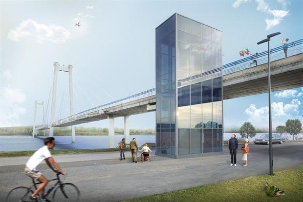 Лифт у вантового моста